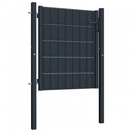 Poartă de gard, antracit, 100 x 101 cm, oțel