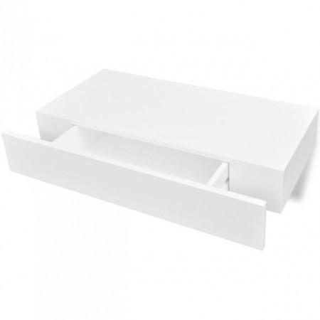 Raft de perete suspendat bibliotecă depozitare DVD 1 sertar MDF, alb