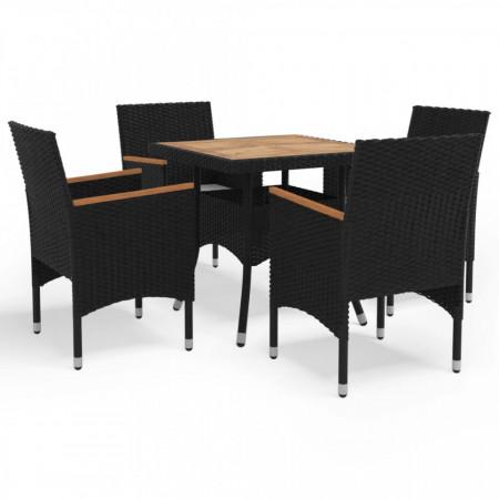 Set mobilier grădină, 5 piese, negru, poliratan și lemn acacia