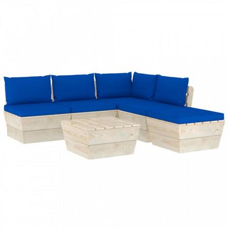 Set mobilier grădină din paleți cu perne, 6 piese, lemn molid