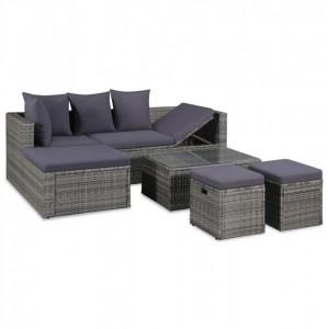 Set mobilier de grădină cu perne, 4 piese, gri, poliratan