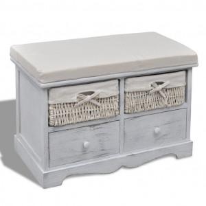 Bancă albă cu 2 coșuri împletite și 2 sertare și pernă