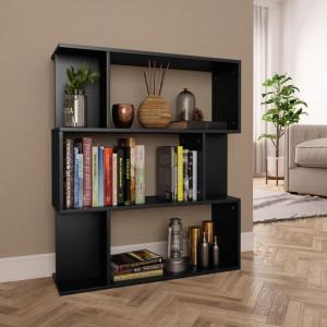 Bibliotecă/Separator cameră, negru, 80x24x96 cm, PAL