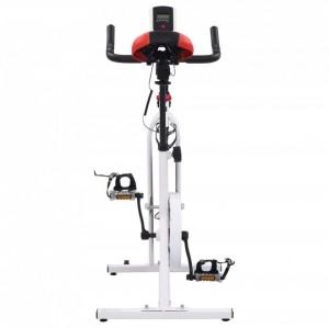 Bicicletă fitness, centrifugă, cu senzori puls, alb și roșu