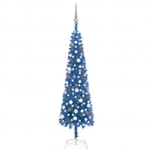 Brad Crăciun artificial subțire LED-uri/globuri albastru 180 cm