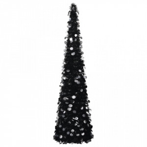 Brad de Crăciun artificial tip pop-up, negru, 150 cm, PET