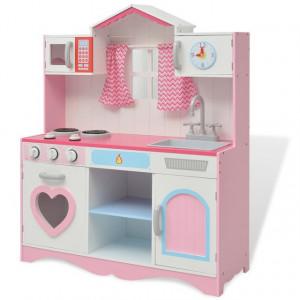 Bucătărie de jucărie din lemn 82 x 30 x 100 cm, roz și alb