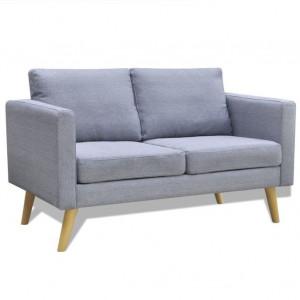Canapea cu 2 locuri, material textil, gri deschis