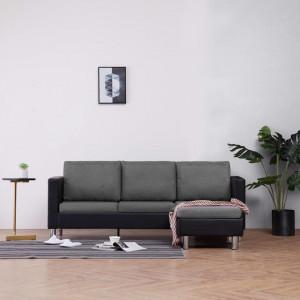Canapea cu 3 locuri cu perne, negru, piele ecologică