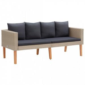 Canapea de grădină cu 2 locuri, cu perne, bej, poliratan