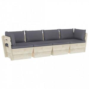 Canapea de grădină din paleți, 4 locuri, cu perne, lemn molid