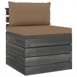 Canapea de grădină din paleți, de mijloc, cu perne, lemn pin