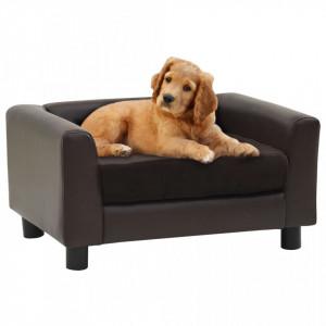 Canapea pentru câini, maro, 60x43x30 cm, pluș & piele ecologică