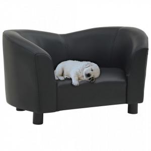 Canapea pentru câini, negru, 67x41x39 cm, piele ecologică