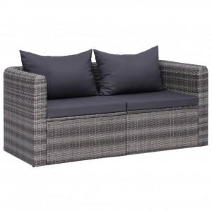 Canapele de colț pentru grădină, 2 buc., gri, poliratan