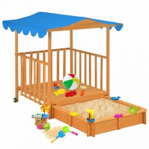 Casă de joacă pentru copii cu groapă nisip albastru lemn brad