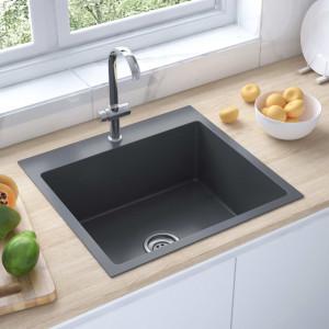 Chiuvetă bucătărie cu orificiu robinet, negru, oțel inoxidabil