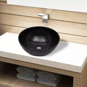 Chiuvetă ceramică pentru baie, rotundă, neagră