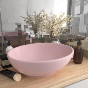 Chiuvetă de lux, roz mat, 40 x 33 cm, ceramică, formă ovală