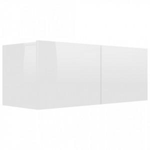 Comodă TV, alb extralucios, 80 x 30 x 30 cm, PAL