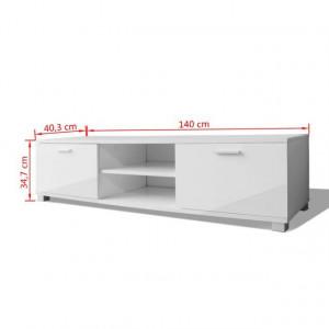 Comoda TV lucioasă 140x40,3x34,7 cm, alb