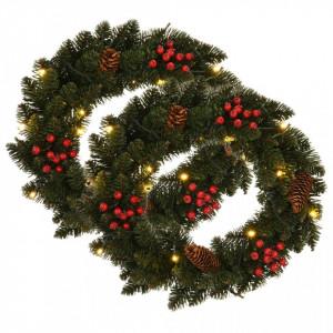 Coronițe de Crăciun cu decorațiuni, 2 buc., verde, 45 cm