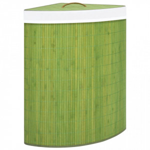 Coș de rufe din bambus, pentru colț, verde, 60 L