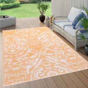 Covor de exterior, portocaliu/alb, 80x150 cm, PP