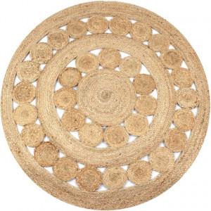 Covor din iută cu model împletit, 150 cm rotund