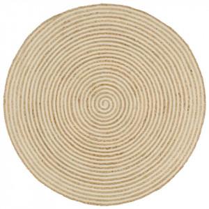 Covor lucrat manual cu model spiralat, alb, 120 cm, iută