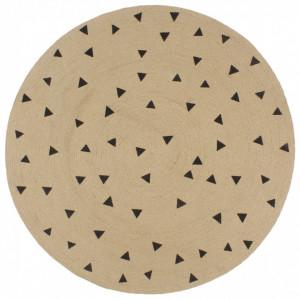 Covor manual cu imprimeu triunghi, 150 cm, iută