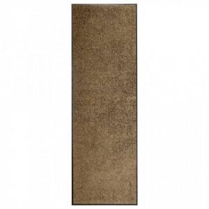 Covoraș de ușă lavabil, maro, 60 x 180 cm