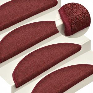 Covorașe pentru trepte scară, 15 buc., roșu, 56x17x3 cm