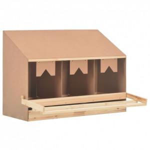 Cuibar găin cu 3 compartimente, 93x40x65 cm, lemn masiv pin