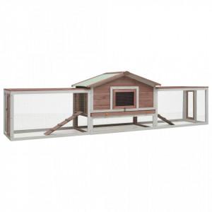 Cușcă iepuri, cafeniu, 303x60x86 cm, lemn masiv de pin & brad