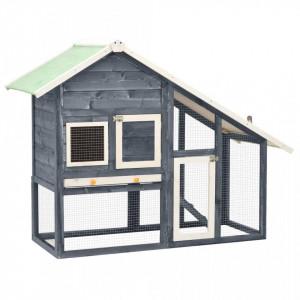 Cușcă iepuri, gri/alb,140 x 63 x 120 cm, lemn masiv de brad
