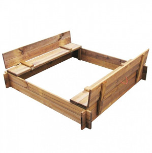 Cutie de nisip, lemn tratat, pătrat