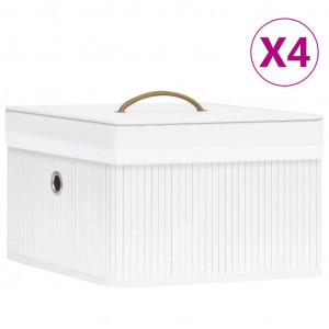 Cutii de depozitare, 4 buc., alb, bambus