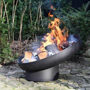 Esschert Design Bol pentru foc înclinat, negru, oțel FF402