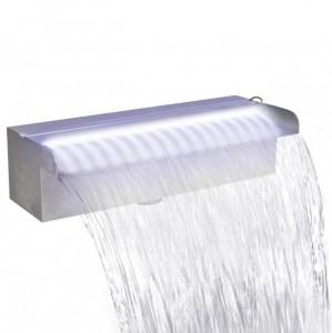 Fântână piscină dreptunghiulară, LED-uri oțel inoxidabil, 30 cm