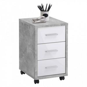 FMD Dulap mobil cu sertare, gri beton și alb extralucios