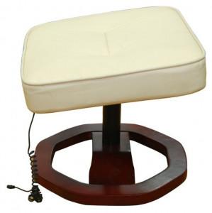 Fotoliu de masaj electric, cu taburet, crem, piele artificială