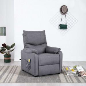 Fotoliu de masaj rabatabil, gri deschis, material textil