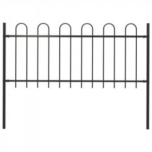 Gard de grădină cu vârf curbat, negru, 1,7 x 0,8 m, oțel