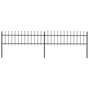 Gard de grădină cu vârf suliță, negru, 3,4 x 0,6 m, oțel