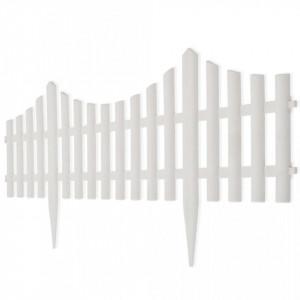 Gard pentru peluză Alb 17 buc / 10 m