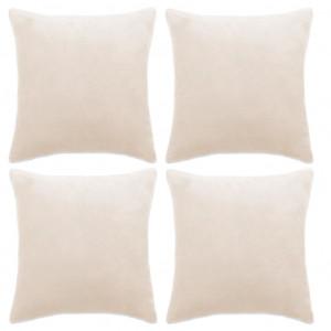 Huse de perne decorative 4 buc. Velur 50x50 cm Ivoriu