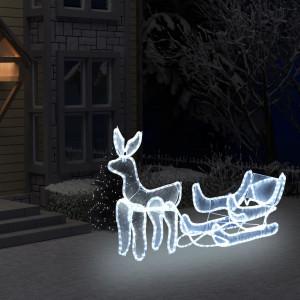 Instalație lumini Crăciun, ren și sanie cu plasă, 216 leduri