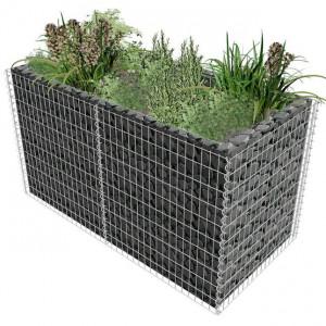 Jardinieră gabion din oțel, 180 x 90 x 100 cm, argintiu