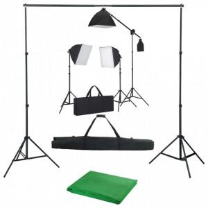 Kit studio foto cu lumini softbox și fundal